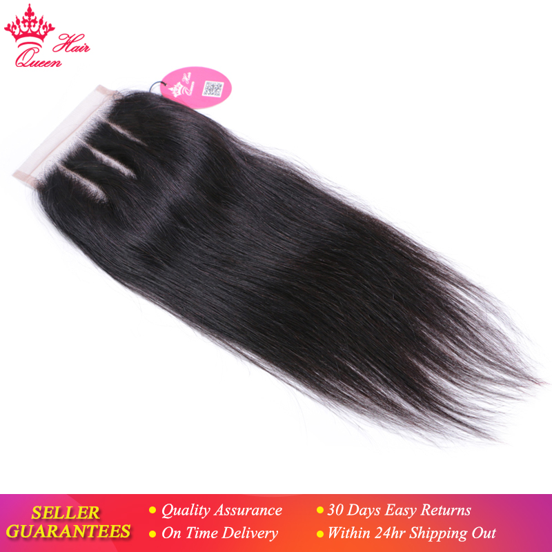 Queen Hair Products Lace Closure Brazilian Straight Virgin Human Hair Natural Color 4x4 Three Part Top