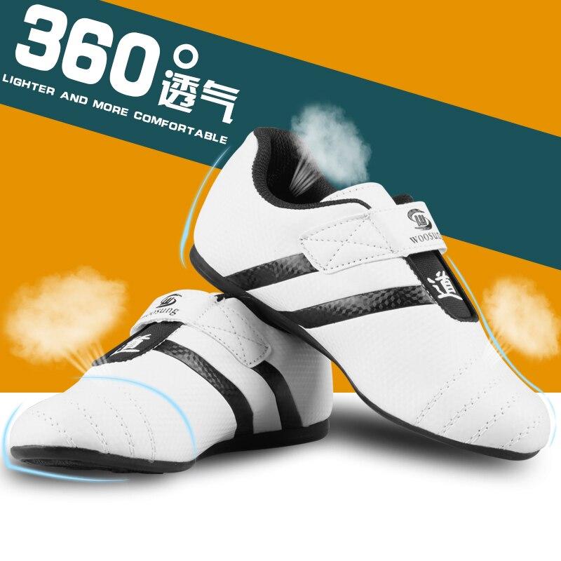 US $18.99 |Nieuwe PU leer ademend KICK Taekwondo Schoenen Vechtsporten Sneaker Wit met Zwarte Strepen kind mannelijke Vrouwelijke Training schoenen in