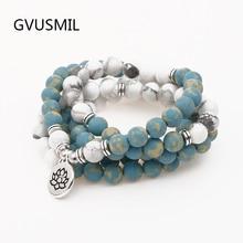 цена New Design Mala Beads Bracelet High Quality White Stone Yoga Bracelet or Necklace Trendy Lotus Jewelry в интернет-магазинах