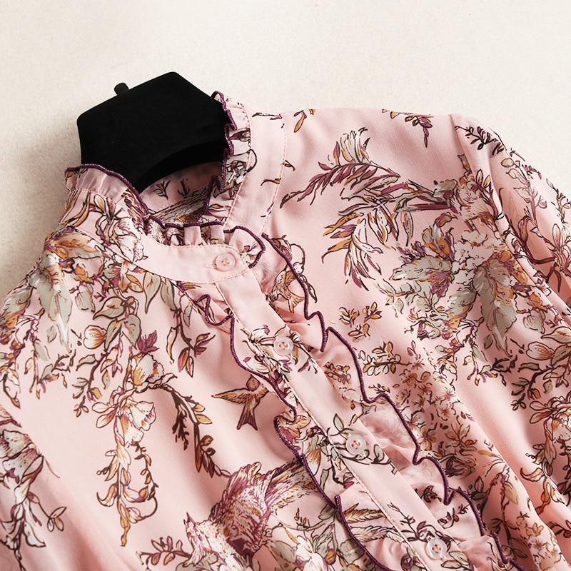 chiffon dress high schwarz langarm a 2019 line 10018 schwarzrosa rosa elegante spring gedruckt New mode frauen end rCodxBe