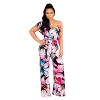 Wendywu Elegant Wide Leg Jumpsuit Rompers Women Tropical Print Beach Jumpsuit Casual Summer Palysuit Overalls