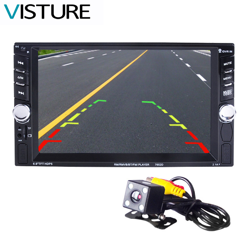 2 Din Car Video Player 6.6'' HD Bluetooth Stereo Radio FM MP3 MP4 MP5 Audio USB Auto Electronics autoradio steering-wheel 7652D 12v 4 1 inch hd bluetooth car fm radio stereo mp3 mp5 lcd player steering wheel remote support usb tf card reader hands free