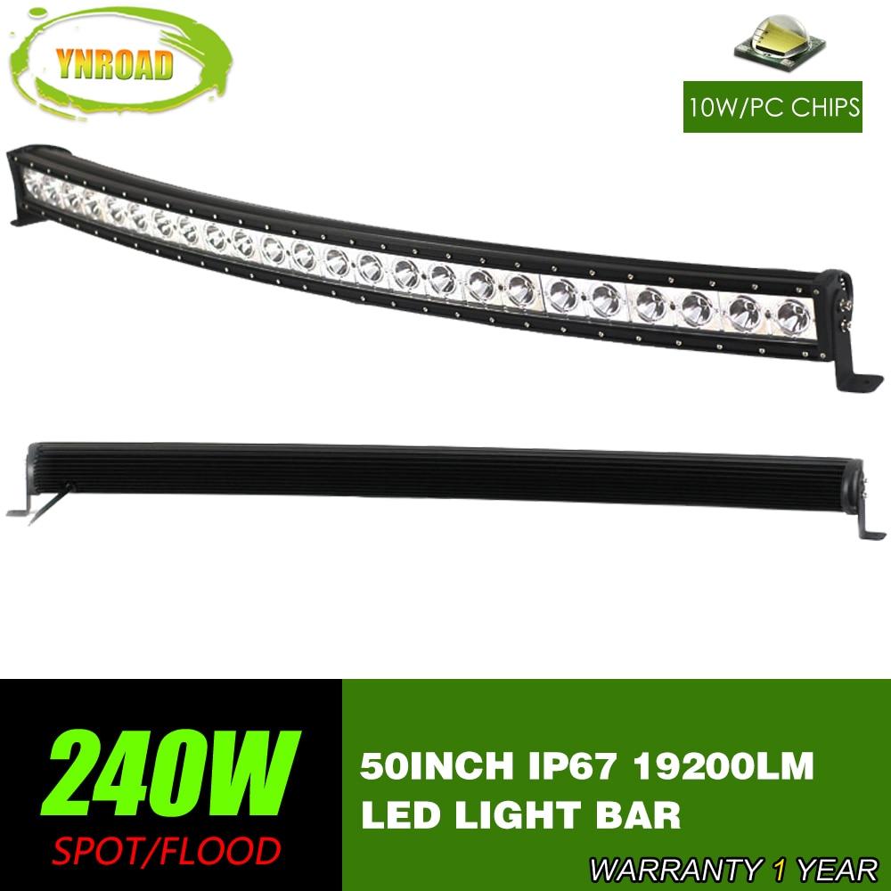 YNROAD 50 hüvelykes 240W ívelt egysoros LED munkavilágító sáv - Autó világítás
