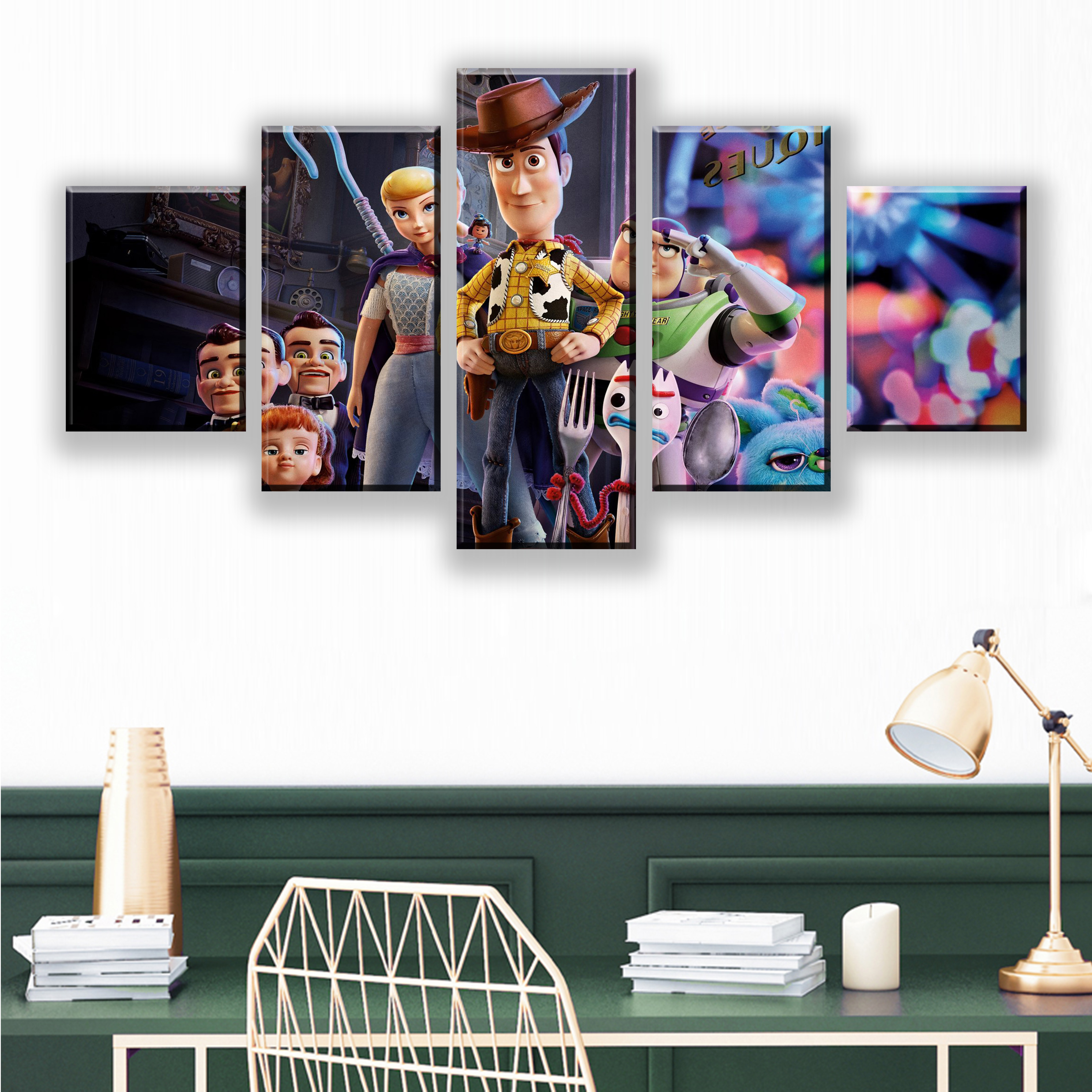 Modular Canvas HD Prints Posters Home Decor Wall Art Picture 5 Pieces Movie Toy Story4 Art Scenery Landscape Paintings Framework in Painting Calligraphy from Home Garden