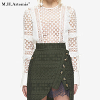 M H Artemis Sexy White Lace Blouse Shirt Women Tops Elegant Hollow Out Blouse Ruffle Sleeve