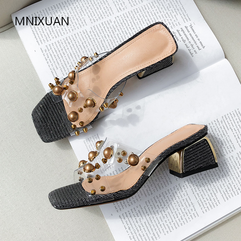 MNIXUAN Fashion women slippers summer heeled shoes 2019 new transparent PVC open toe medium heel outside