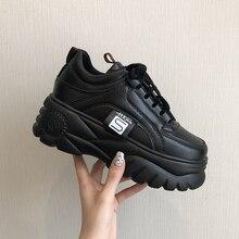 Ulzzang/женская повседневная обувь, визуально увеличивающая рост; женские кроссовки на платформе; Туфли на танкетке на высоком каблуке; лоферы на плоской подошве; женская обувь на толстой подошве; кроссовки