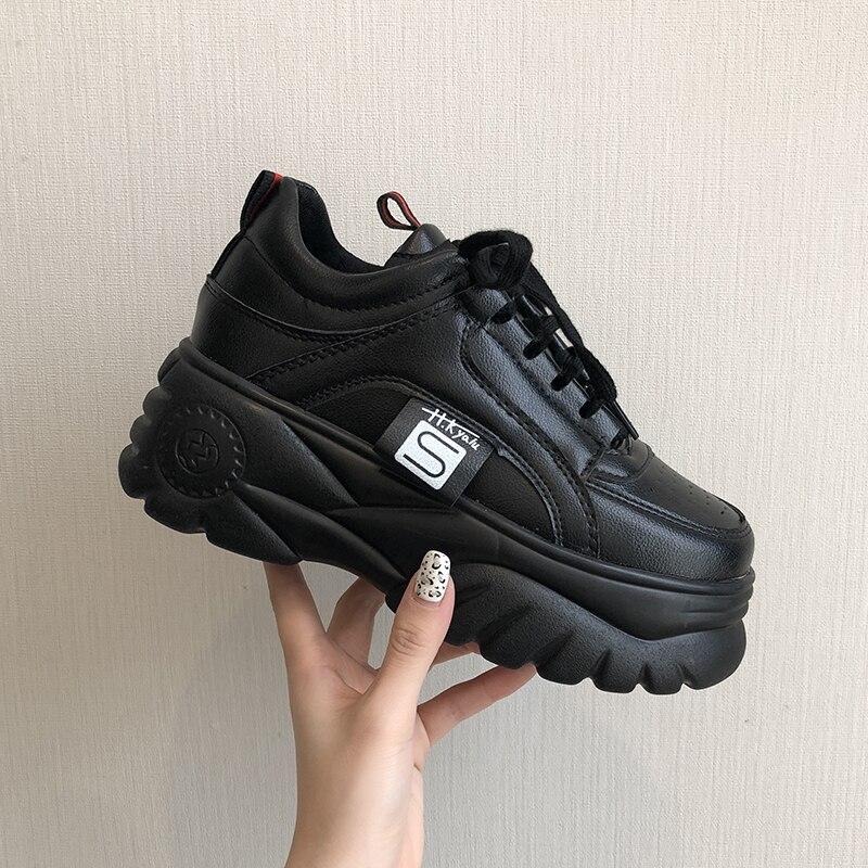 Aumento do hight Mulheres Ulzzang Sapatos Mulher Tênis Plataforma Casuais Cunhas De Salto Alto Flats Loafers Trepadeiras Senhoras Formadores
