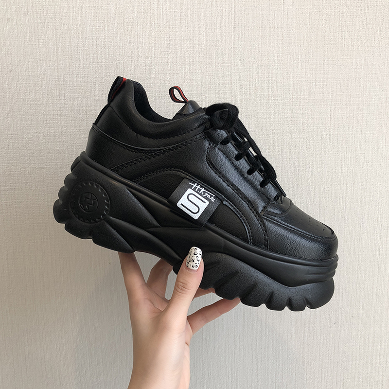 Увеличение роста Ulzzang; женская повседневная обувь; женские кроссовки на платформе и танкетке; лоферы на плоской подошве; женские кроссовки на толстой подошве