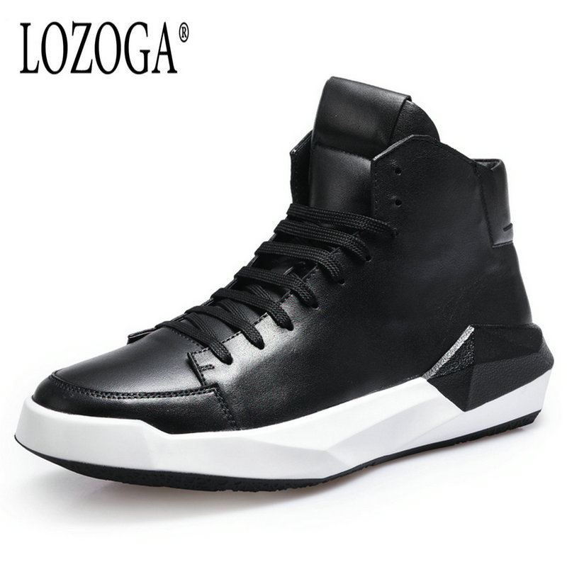 Lozoga Men Leather Sneaker Boots Fashion Brand Ankle Boots Top Quality Handmade Sneakers Casual Shoes Lace-Up Black Boots Damier
