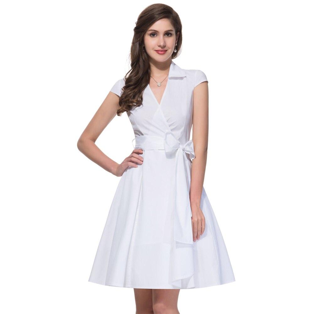 Sexy v neck retro 2017 vintage rockabilly dresses white for Femme au foyer 1950