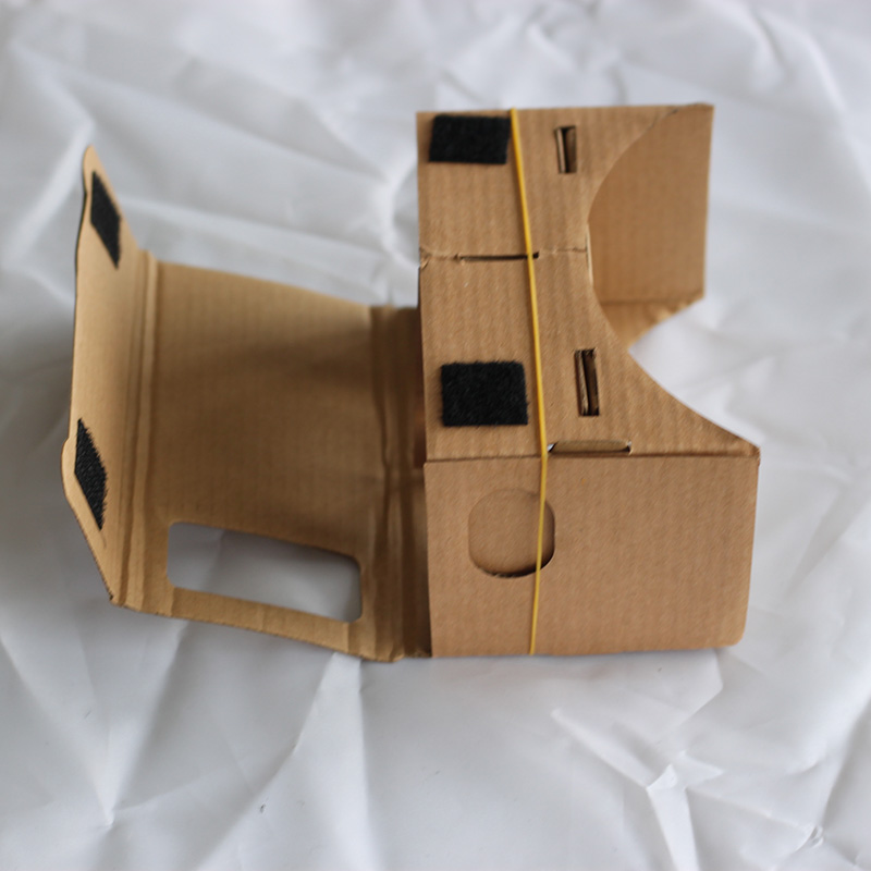 DIY Google Cardboard VR Virtual reality mobile phone 3D glasses by Unofficial paper matterial with head mounted strap cloth band