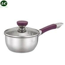 SS #18/10 leche cacerola sartén con silicona envuelta mano utensilios de cocina olla sartén