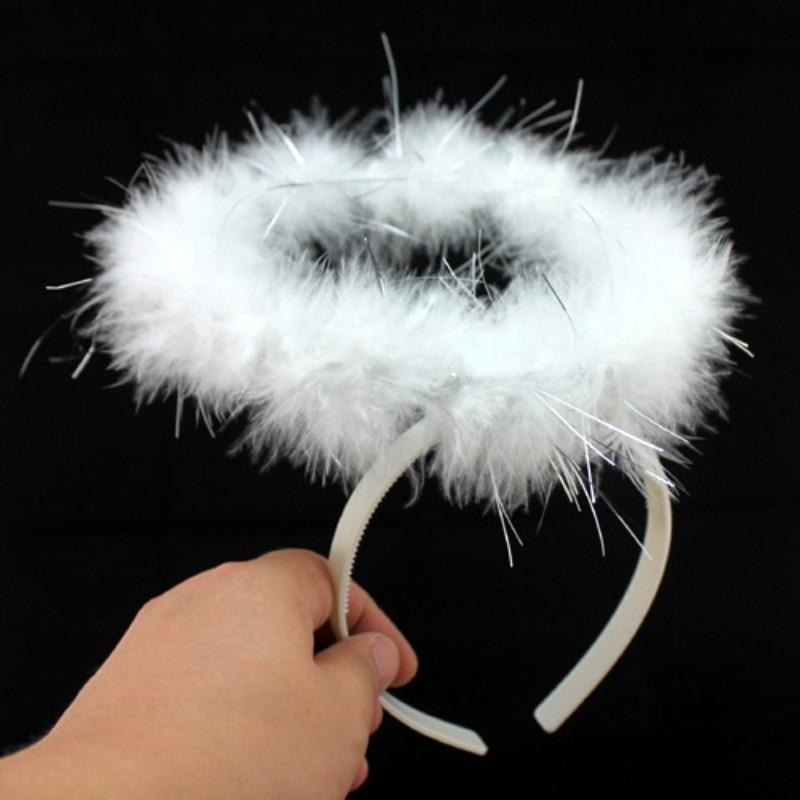 Black White Feather Angel Halo Headband Fancy Xmas Party Dress Headwear Costume LY5 New Style