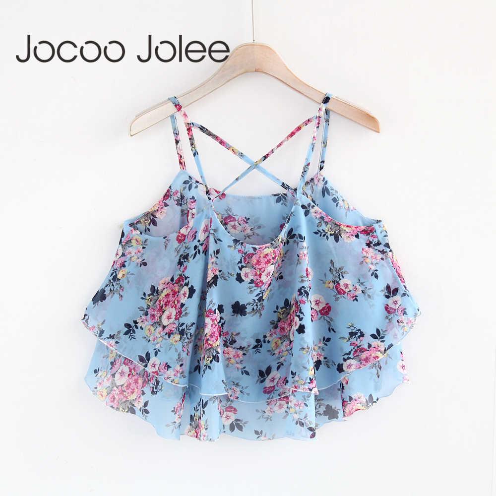Jocoo Jolee מתוק פרח יבול חולצות פרחוני טנק הדפסת שיפון ללא שרוולים נשים Camis קצוץ ספגטי רצועת פרח חולצות