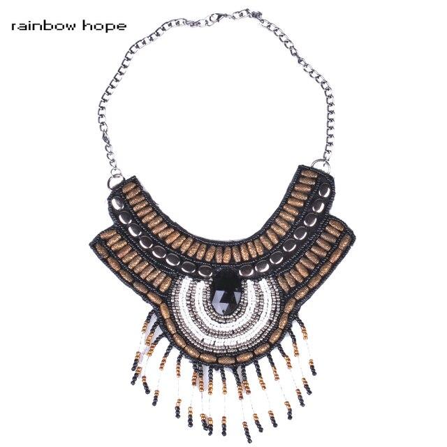Trendy Bohemia necklace jewelry Handmade Embroidery Bead Women choker collar Necklace Ethnic Necklace Beads Resin tassel Pendant