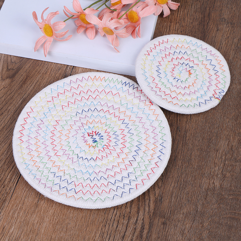 Cotton Linen Knitting Bowl Mats Placemat Pad Coasters ...