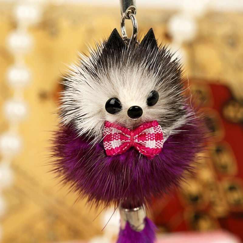 ใหม่น่ารักปุย Crown Bow - knot Fox ลูก Pompom Mink ผม Charm พวงกุญแจกระเป๋ารถ Key Ring ผู้หญิงเครื่องประดับสีสุ่ม
