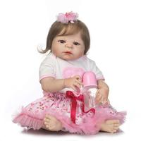 22 full silicone reborn baby dolls realistic bebe girl reborn pink dress rooted smooth hair child doll gift alive bonecas rebor