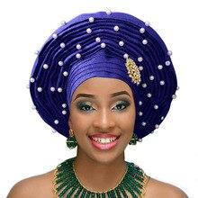 Африканский геле уже heatie Aso oke головной убор с бисером Африканский головной убор для женщин