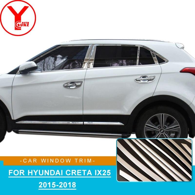 Acier inoxydable fenêtre de la voiture bandes de garniture moulage Pour hyundai creta ix25 Cantus 2015 2016 2017 2018 style de voiture accessoires YCSUNZ