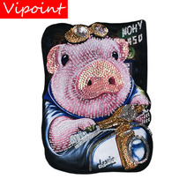 sequined printing big pig patches for jackets,cartoon pig badges applique patches for clothing A644 embroidery sequined belle patches for jackets glasses girls badges applique patches for clothing a640