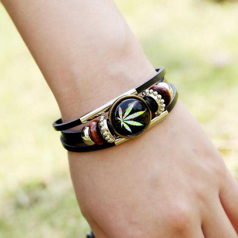 Jisensp Fashion Feather Leaves Wide Leather bracelets & bangles Multilayer Beads Bracelet Jewelry for Women Men Gift pulseras