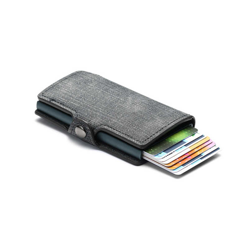 Bisi Goro 2020 Credit Card Portemonnee Nieuwe Rfid Blocking Slim Kaarthouder Pu Enkele Aluminium Doos Business Hasp Card Case slanke Portemonnee
