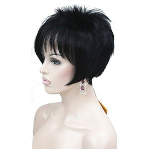 Image 1 - StrongBeauty damskie peruki asymetryczna pochylona grzywka krótka prosta Bob naturalna syntetyczna pełna peruka 4 kolory
