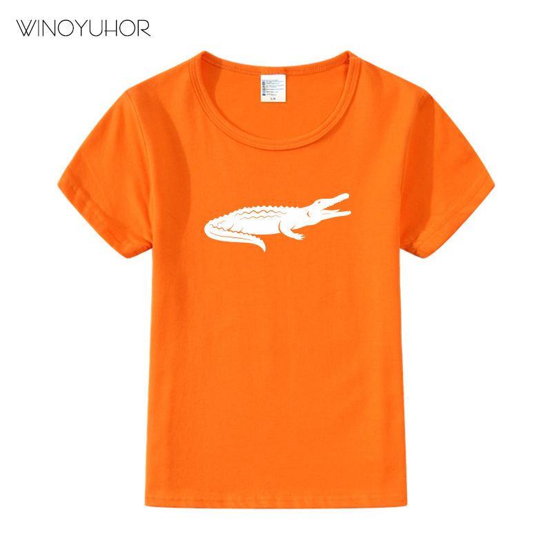 Boys New Short Sleeves Summer T Shirts Kids Hot Selling Cartoon T shirt Cool Crocodile Print Tees Top Quality 2019 in T Shirts from Mother Kids