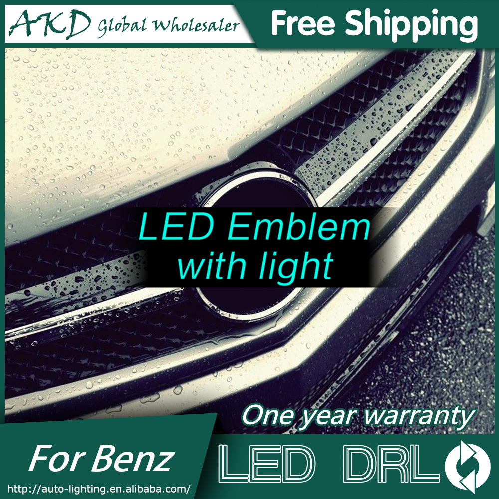 AKD Car Styling for Mercedes Benz GLC Class W204  LED Star Light DRL FRONT GRILLE LED LOGO Emblem Daytime Running light Emblem abs decorative led emblem logo light front grille for f ord r anger t7 2016 2017 car styling 4 colors grill lamp