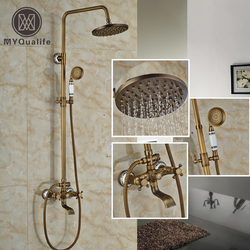 Brass Antique Rainfall Bath Shower Faucet Set Dual Handle Wall Mounted Bathroom Shower System + Hand Shower+Tub Spout