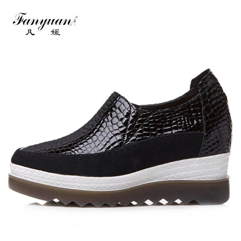 Fanyuan/из натуральной кожи на платформе с круглым носком дамские весенние туфли Creeper Обувь 2018 Мода Новая мода Повседневное женская обувь на пл