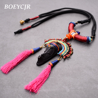 BOEYCJR Ancient Tribe Style Natural Wood Human Face Chain Handmade Ethnic Vintage Long Pendant Necklace For Women Jewelry 2019