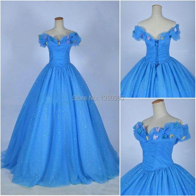 73f610333df54 2015 cendrillon robe fille robe de bal princesse robe adultes cendrillon  robe bouffante papillon bleu cendrillon