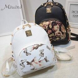 Women backpacks 3d printing floral pu leather rivet backpack female trendy designer school bags teenagers girls.jpg 250x250