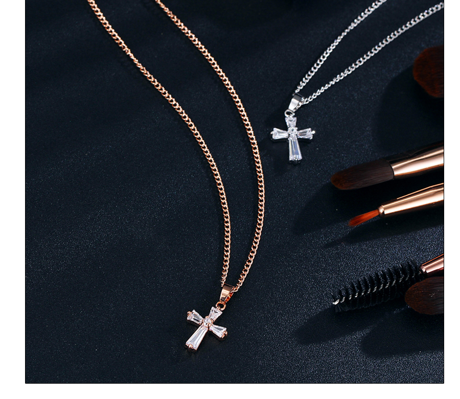 HTB1lB9NCuuSBuNjSsplq6ze8pXa5 - 17KM Rose Gold Color Cross Pendant Necklaces For Woman Crystal Pendant Cubic Zirconia Long Necklace Bijoux Jewelry Wholesale