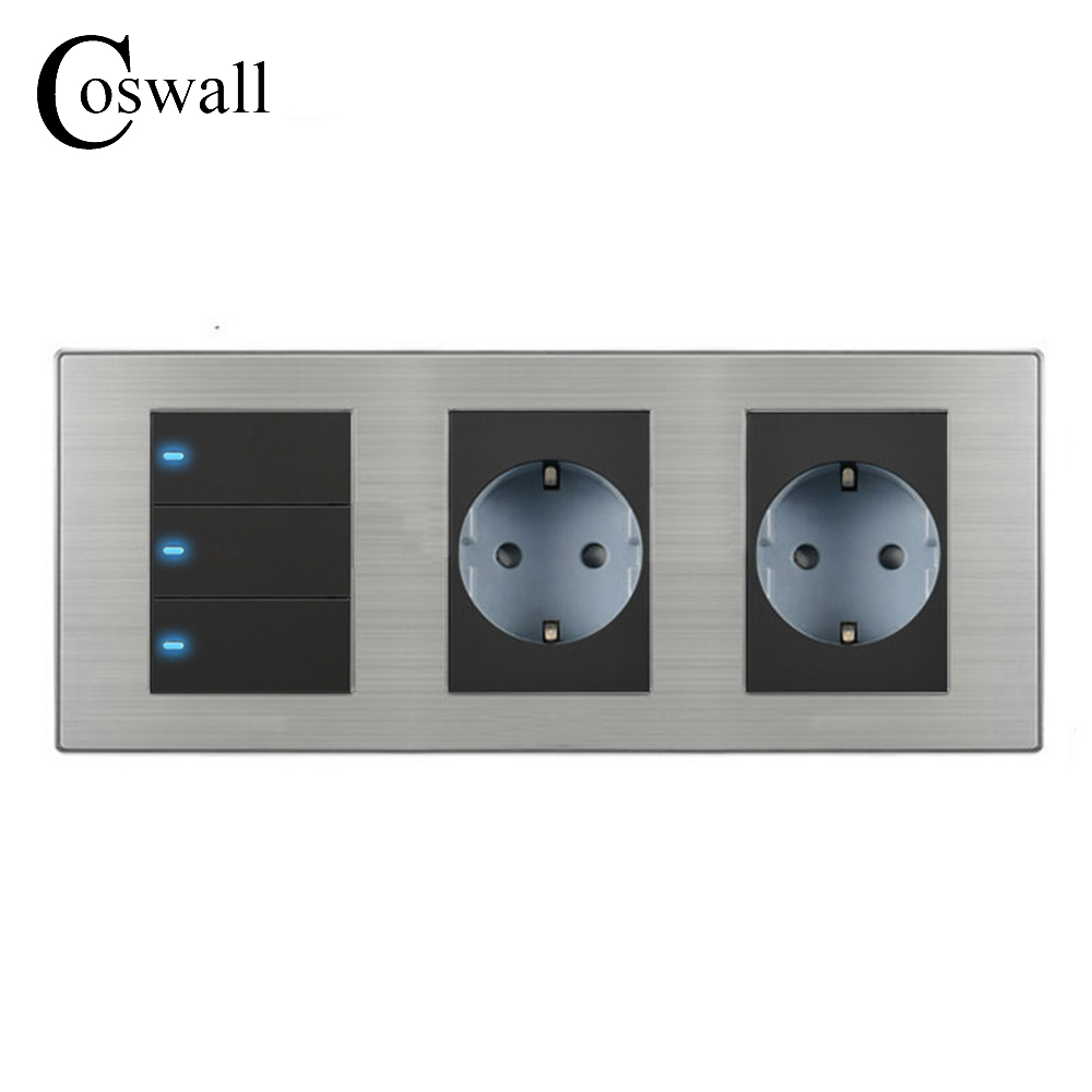 Coswall 16A EU Standard Wall Double Socket + 3 Gang 2 Way Light Switch With LED Indicator Stainless Steel Panel 236*86mm scinder switched socket package 15 steel frame two or three five hole electrical outlet wall switch panel switch