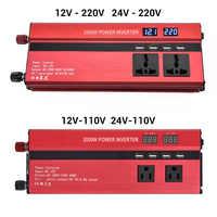 Пиковая мощность 2000 Вт автомобильный инвертор 12 В/24 В до 110 В/220 В инвертор питания двойной дисплей напряжения Авто преобразователь мощности ...