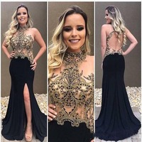 Luxury Black and Gold Crystal Beading Arabic Prom Dresses High Neck Backless High Split Long Sweep Train Party Evening Gowns