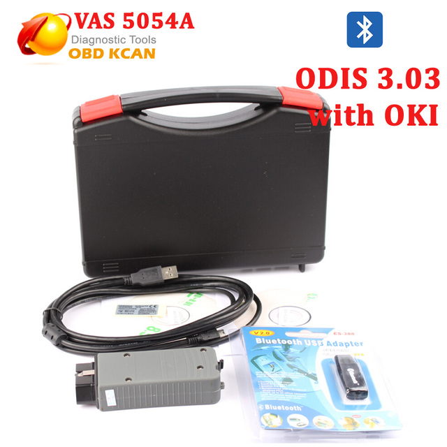 Free Shipping NEWEST VAS 5054A with OKI VAS5054A ODIS 3.0.3 Bluetooth Support UDS Protocol VAS 5054A with Plastic Carry Case