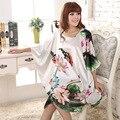 Nueva Llegada de Las Mujeres Chinas de Verano de Seda ropa de Dormir Sexy Mini Vestido Túnica Impresa Caftán Baño de Noche Vestido de Flores Un Tamaño L01
