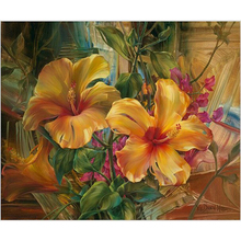 Frameless Picture On Wall Acrylic Oil Painting By Numbers Big Orange Flowers Drawing Gift Paint 40X50CM