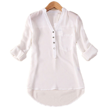 2018 Women Spring Autumn V-Neck Chiffon Blouse Clothing Female Elegant All-Match Button Long Sleeve Shirts Tops Plus Size O147