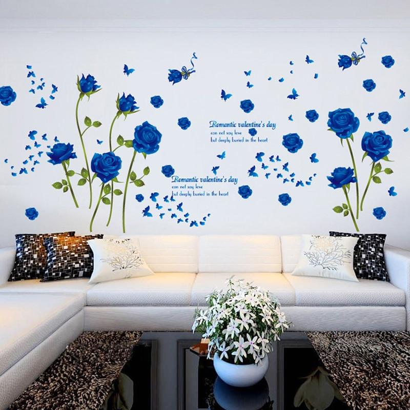 Neue Ankunft Blaue Rose Blume Wandaufkleber Romantischen ...
