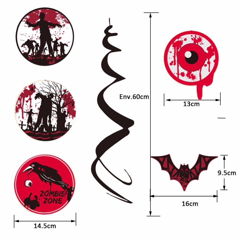 Pack of 9 Creepy Halloween Party Swirls with Cutouts of Flying Bats Bloody Eyeballs Zombies Crow Ceiling Hanging Spirals Decor in Party DIY Decorations from Home Garden