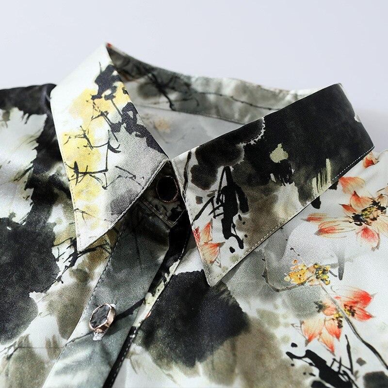 2019 Весенняя мода 100% шелковая блузка Офисная Женская рубашка рубашки с длинным рукавом Женские топы блузки размера плюс женская блуза YQ021 - 5
