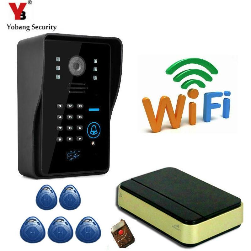 imágenes para YobangSecurity WiFi Inalámbrico Inteligente de Vídeo P2P Teléfono de La Puerta de Intercomunicación Visual Timbre de Desbloqueo A Distancia Con Teclado de Contraseña, campana de La Música