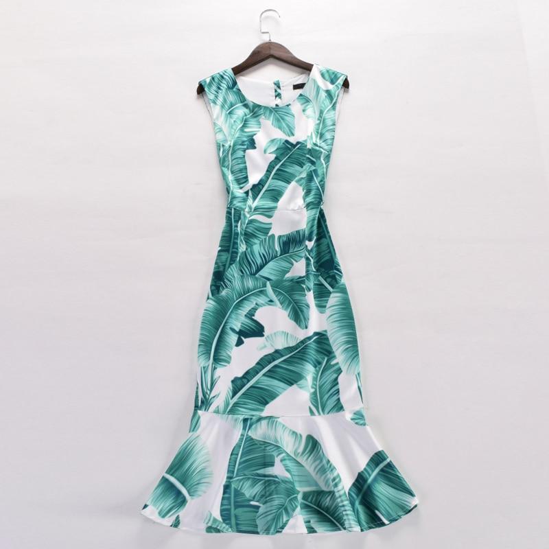 2017 Womens Retro Vintage Summer Sleeveless Elegant Dresses Plus Size Runway Knee -Length Trumpet Banana Leaf Print Dress