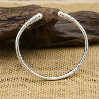 Pure 925 Sterling Silver Thin Cuff Band Bangle Men Women Simple China Style Cool Personality Thai Silver Round Bangle Gifts